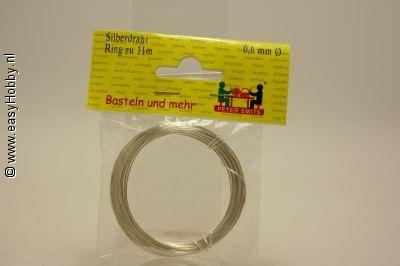 Verzilverd draad 0,6 mm - rol
