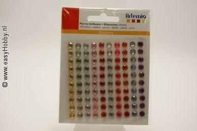 Plaksteentjes rond, assorti kleuren, 6 mm