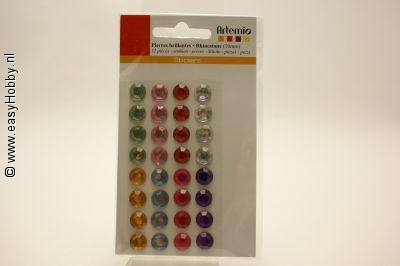Plaksteentjes, rond, assorti kleuren, 10 mm