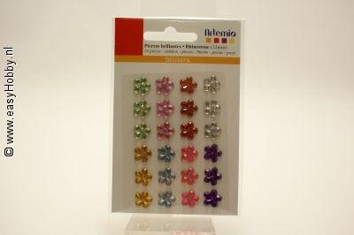Plaksteentjes, bloem, assorti kleuren, 12 mm