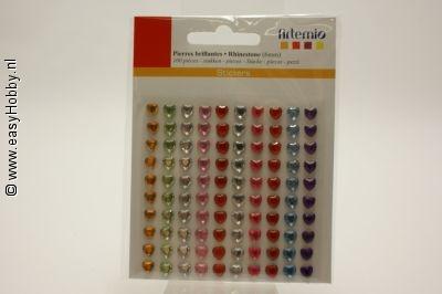 Plaksteentjes hart, assorti kleuren, 6 mm