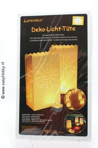 Sfeerlicht, 10 stuks, 27 cm hoog, met gaatjesmotief