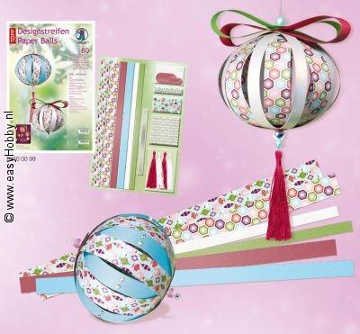 Kerstballen van papierstroken, pakket voor 8 ballen