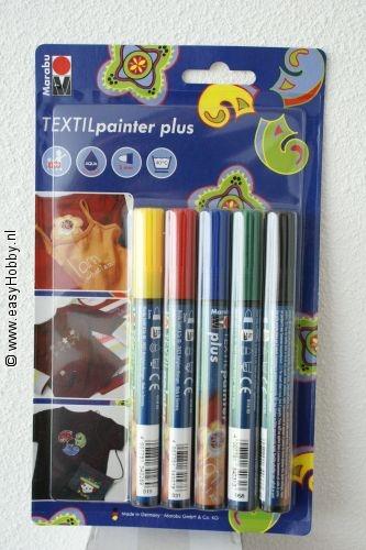 Textielverfstift plus ,  set met 5 kleuren.