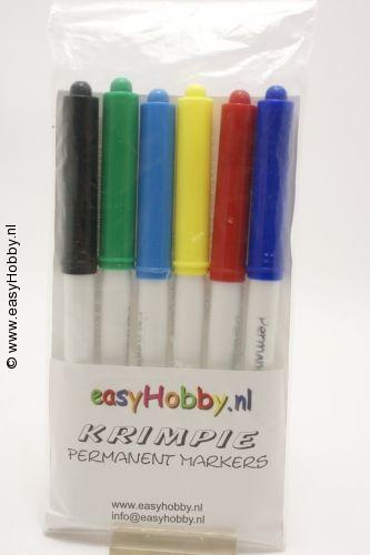 Krimpie Dinkie stiften Permanent markers - 6 primaire kleuren
