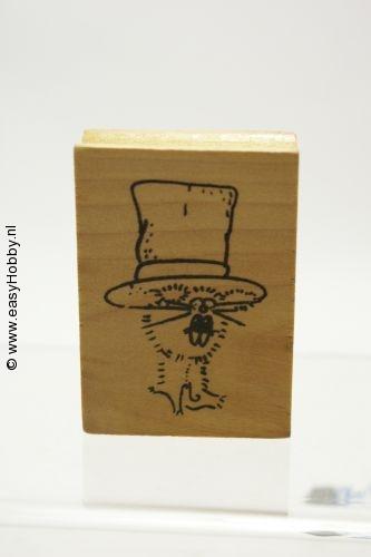 Stempel, haas met hoed