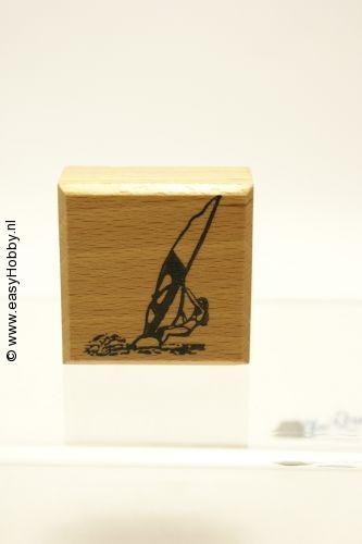 Stempel, meisje op de surfplank